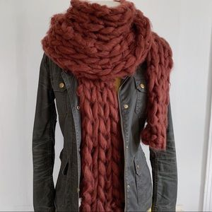 Free People Oversized Rust Red Fuzzy Scarf